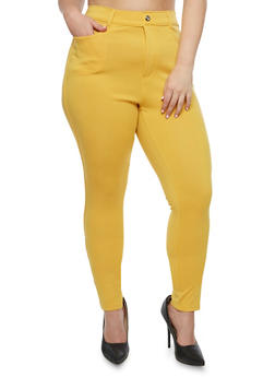 Plus Size Solid Jeggings - MUSTARD - 3961072710347