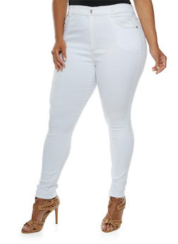 Plus Size Jeggings with Crystal Grommet Accents - 3961072716119