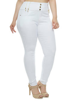 Plus Size Stretch Denim Pants with High Waist - 3961072716229