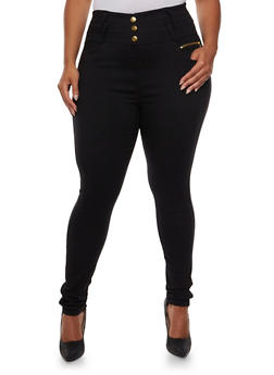Plus Size High-Waisted Jeggings with Three Buttons - 3961072716239