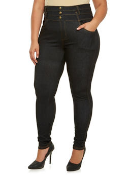 Plus Size High-Waisted Stretch Denim Pants with Pockets - 3961072716240