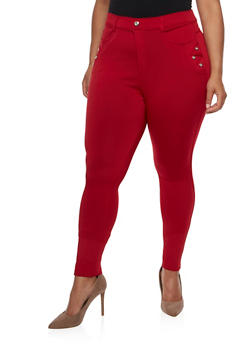 Plus Size Neoprene Skinny Pants - 3961072716357