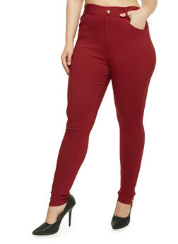 Plus Size Dyed Jeggings - BURGUNDY - 3961072716700