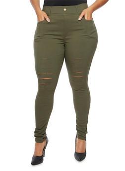 Plus Size Jeggings with Slash Cut Knees - 3961072716771