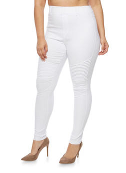 Plus Size Stretch Moto Pants - WHITE - 3961072716775