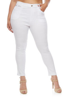 Plus Size Cuffed Stretch Pants - WHITE - 3961072717346