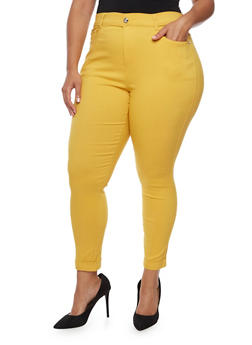 Plus Size Cuffed Stretch Pants - MUSTARD - 3961072717346