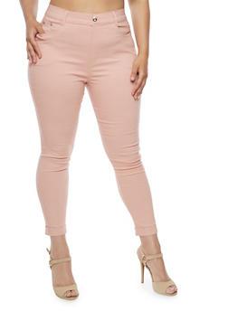 Plus Size Cuffed Stretch Pants - BLUSH - 3961072717346