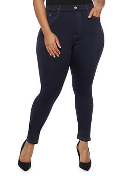 Plus Size Solid Stretch Jeggings - 3961072717347