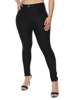 Plus Size Stretch Knit Skinny Pants - 3961072717348