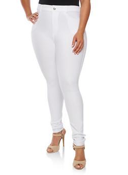 Plus Size Stretch Knit Skinny Pants - WHITE - 3961072717348