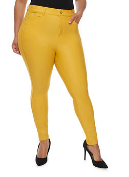 Plus Size Stretch Knit Skinny Pants - MUSTARD - 3961072717348