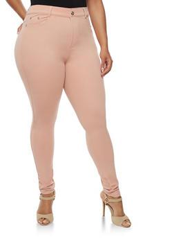 Plus Size Stretch Knit Skinny Pants - BLUSH - 3961072717348