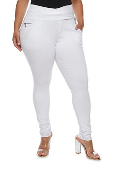 Plus Size Pull Up Skinny Pants with Zippers - WHITE - 3961072717356