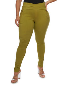 Plus Size Pull Up Skinny Pants with Zippers - 3961072717356