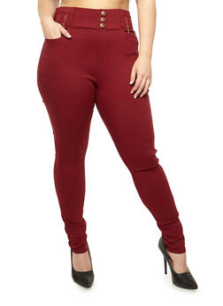 Plus Size Solid High Waisted Jeggings - 3961072717359