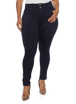 Plus Size Rolled Cuff 2 Button Jeggings - 3961072717360