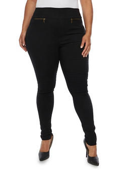 Plus Size High Waisted Moto Jeggings - 3961072717361