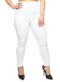 Plus Size Solid Jeggings - WHITE - 3961072717362