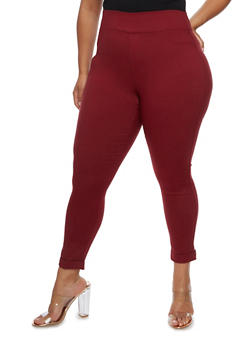 Plus Size Solid Jeggings - WINE - 3961072717362