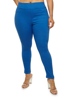 Plus Size Solid Jeggings - 3961072717362
