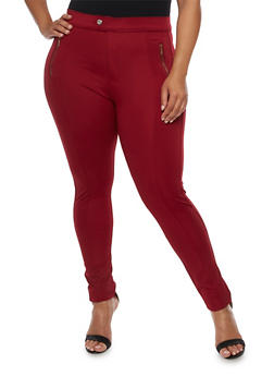 Plus Size Solid Stretch Pants - WINE - 3961072717363