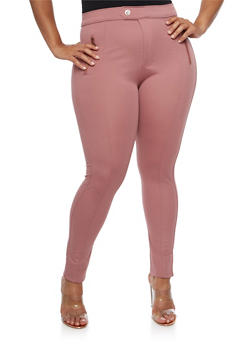Plus Size Solid Stretch Pants - 3961072717363