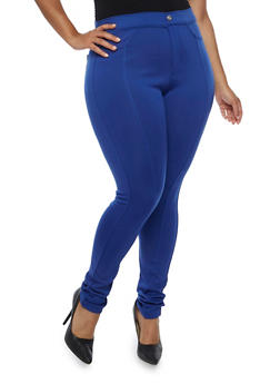 Plus Size Stitch Front Jeggings with Rhinestone Buttons - 3961072717364