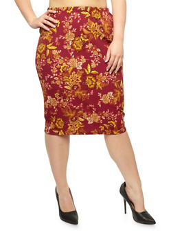 Plus Size Floral Textured Knit Skirt - 3962058931012