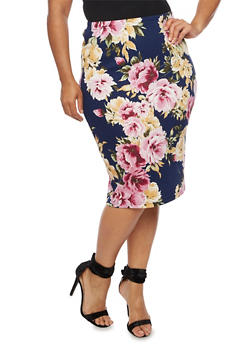 Plus Size Floral Print Pencil Skirt - 3962058931022