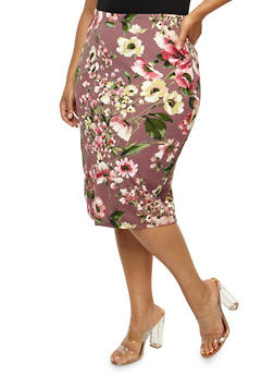 Plus Size Floral Textured Knit Skirt - 3962058931052