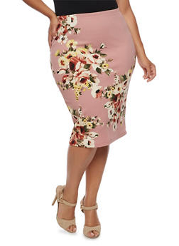 Plus Size Soft Knit Floral Pencil Skirt - 3962058931062