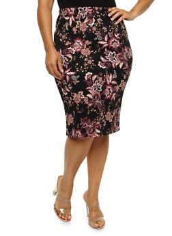 Plus Size Floral Pencil Skirt - 3962058931082