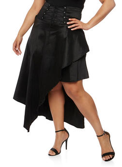 Plus Size Lace Up Asymmetrical Skirt - 3962058937360