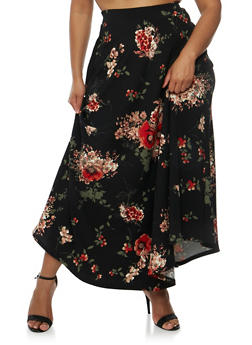 Plus Size Floral Maxi Skirt - 3962058937760