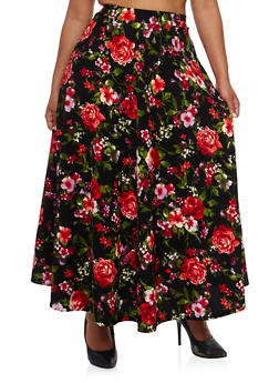 Plus Size Floral Textured Knit Maxi Skirt - 3962058937860