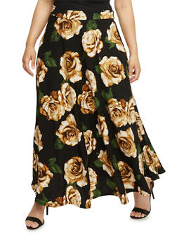 Plus Size Floral Maxi Skirt - 3962058937960