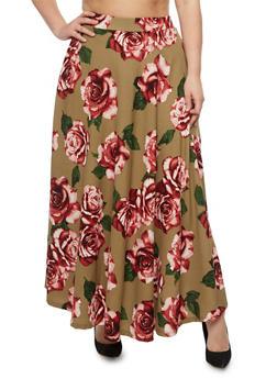 Plus Size Crepe Knit Floral Maxi Skirt - 3962058938060
