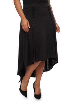 Plus Size High Low Skirt with Braided Inserts - 3962058938160