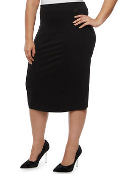 Plus Size Ponte Knit Back Slit Pencil Skirt - 3962062705721