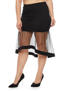 Plus Size Ponte Knit Skirt with Flared Tulle Hem - 3962069390085