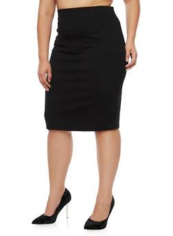 Plus Size Midi Pencil Skirt - 3962069391009