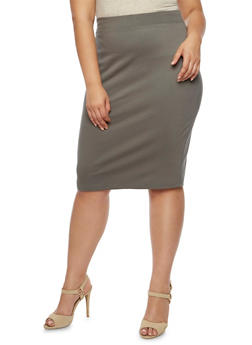 Plus Size Midi Pencil Skirt - 3962069391009