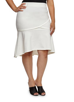 Plus Size Ponte Knit Flared Pencil Skirt - WHITE - 3962069391071