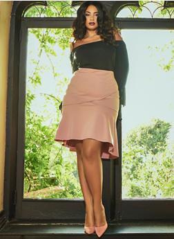 Plus Size Ponte Knit Flared Pencil Skirt - 3962069391071
