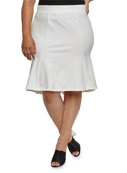 Plus Size Flounce Pencil Skirt - WHITE - 3962069391072