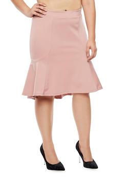 Plus Size Flounce Pencil Skirt - 3962069391072