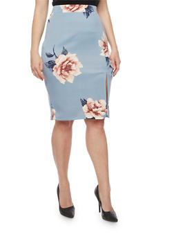 Plus Size Floral Pencil Skirt with Side Slit - 3962069394007