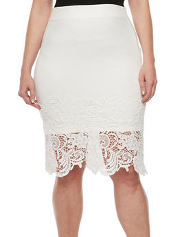 Plus Size Ponte Knit Pencil Skirt with Crochet Trim - 3962069394033