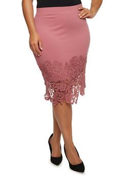 Plus Size Ponte Knit Pencil Skirt with Crochet Trim - 3962069394033